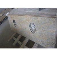 Modern Kashmir Gold Granite Countertop , Two Sinks Hotel Granite Bathroom Worktops Manufactures
