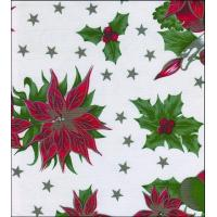 Christmas Stars White Oilcloth Manufactures