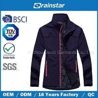 New Design Printed Knitted Softshell Jacket with Color Zipper Manufactures