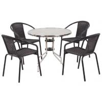 Patio Rattan Bar Set-5PC Wicker Bistro Set With Glass Top Tableresturant Table Manufactures
