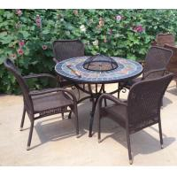 Round Fire Pit BBQ Table Set With Slate Top Bowl Cover Mosaic Table With Four Rattan Arm Chair