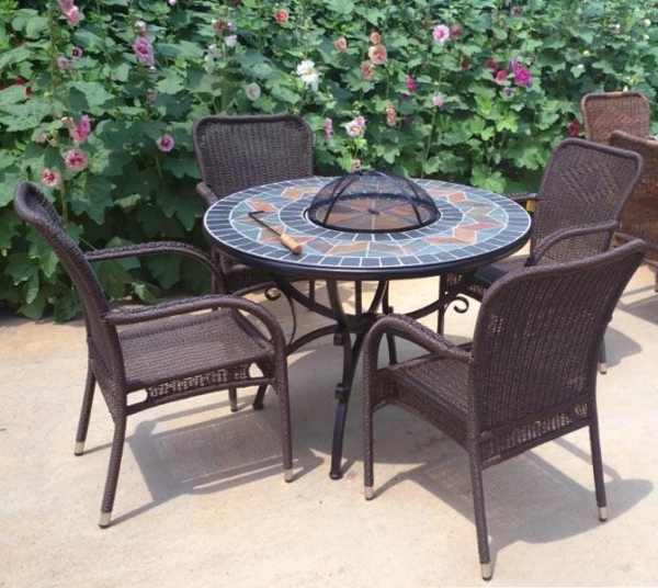 Quality Round Fire Pit BBQ Table Set With Slate Top Bowl Cover Mosaic Table With Four Rattan Arm Chair for sale