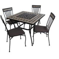 Buy cheap Ceramic Tabletop Stacking Iron Chair 1 table with 4pcs Chairs from wholesalers