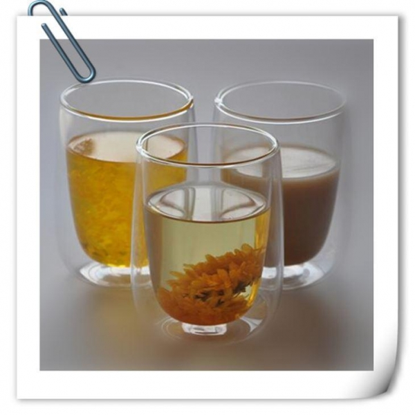 Quality Artificial blowing lead-free double wall glass tea cup for sale