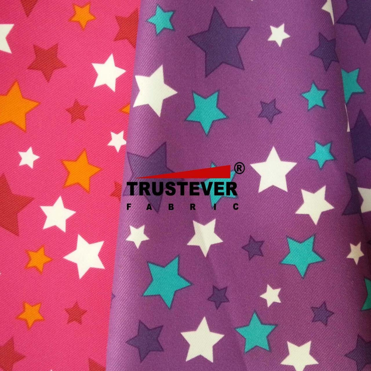 Printed fabric series Star printed Polyester Micro-peach Twill Fabric Manufactures