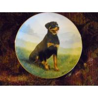 Quality Art Glass Danbury Mint collector plate At Attention Rottweiler series for sale
