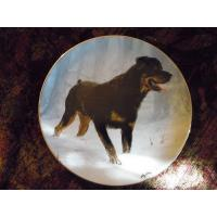 Quality Art Glass Danbury Mint collector Plate Rottweilers by John Silver Winter Walk for sale