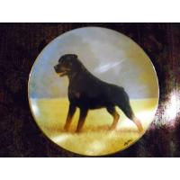 Quality Art Glass Danbury Mint collector plate Rottweilers series Noble Companion for sale