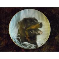 Quality Art Glass Danbury Mint Collector plate Rottweillers series Frosty Morning for sale