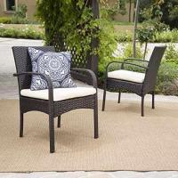 Set of 2 Carmela Outdoor Multibrown PE Wicker Dining Chairs Manufactures