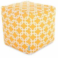 """Majestic Home Goods Links Indoor / Outdoor Bean Bag Ottoman Pouf Cube, 17"""" x 17"""" x 17"""" Yellow Manufactures"""