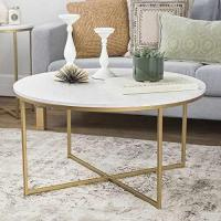 WE Furniture 36 Coffee Table with X-Base - Marble/Gold Manufactures