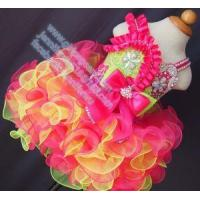 China Baby Blue and Pink Ostrich Feather Strap Halter Princess Dress G272A on sale