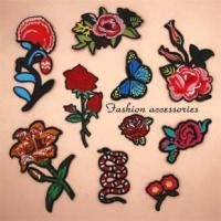 Red rose flower embroidery patch,hot fix fashion embroidery flower patch for shoes, clothes Manufactures