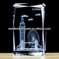 China 3D Laser Wholesale 3d Etched crystal Big ben london bridge and London eye city building on sale