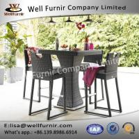 Well Furnir Brown Color 4 Seat Square Bar Set With Ice Bucket Rattan Garden Set Manufactures