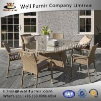 Well Furnir Patio 6 Arm Seater Round Rattan Dining Set With Cushion Manufactures