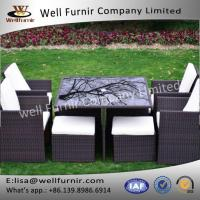 Well Furnir 8 Seaters Space-saving Rattan Cube Dining Set Manufactures