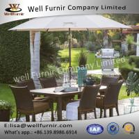 Well Furnir Rattan Wicker Dining Chair And Steel Slatted Table Set Manufactures