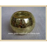 China Glass printing silver crackle glass candle holders on sale