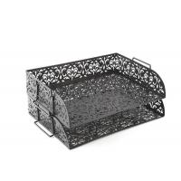 Carved Hollow Flower Pattern Stacking 2 Tier Office Desk Letter Tray
