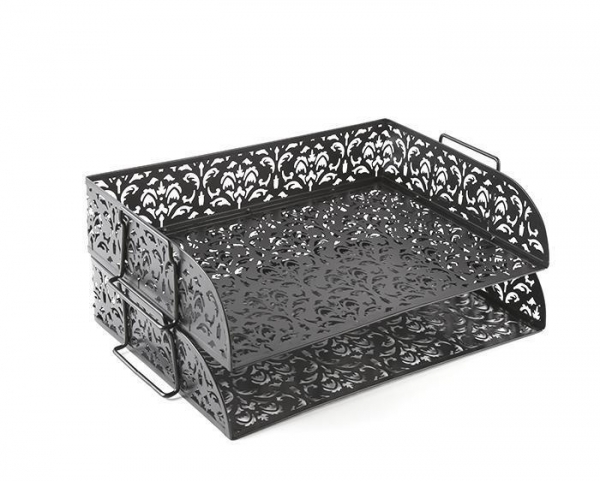 Quality Carved Hollow Flower Pattern Stacking 2 Tier Office Desk Letter Tray for sale