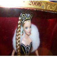 Toys 2006 Holiday Barbie Blonde Hair Black Dress NRFB Manufactures
