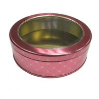 Christmas candy tin box with clear plastic window lid Manufactures