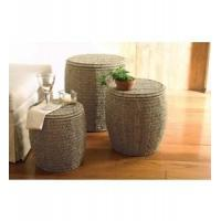 Seagrass Storage Ottomans by Tag - Set of 3