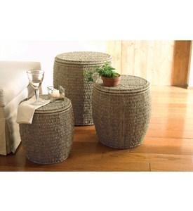 Quality Seagrass Storage Ottomans by Tag - Set of 3 for sale