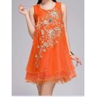 Dimensional flowers chiffon organza embroidered ladies dress Manufactures