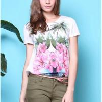 China Blouses & T-shirts J4116T Delicate flower print cotton stretch short sleeve T-shirt on sale
