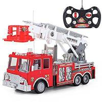 "Quality 13"" R/C Rescue Fire Engine Truck Remote Control Kids Toy with Extending Ladder for sale"