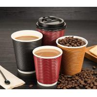 Buy cheap Disposable ribbed insulated coffee paper cup with lid from wholesalers