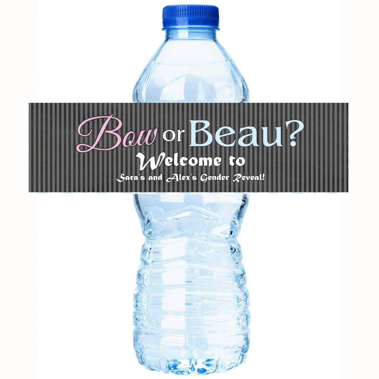Personalized Baby Shower Water Bottle Labels - Gender Reveal Collection