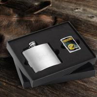 Personalized Brushed Flask and NFL Zippo Lighter Gift Set
