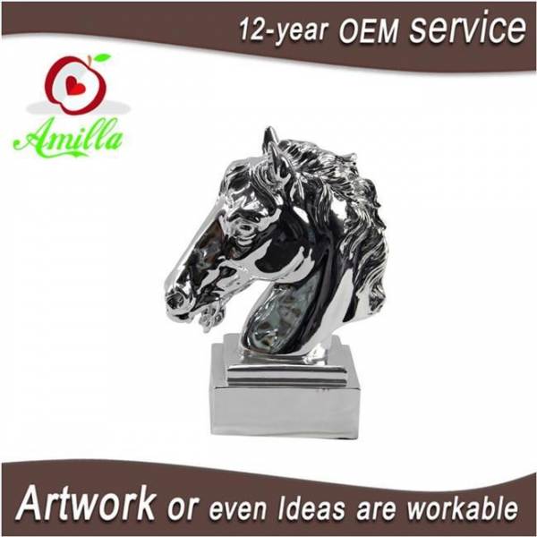 Quality Silver Decorative Resin Statue Horse Head Figurine for Sale for sale