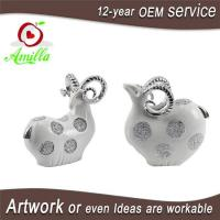 White with Silver and Gloden Polyresin Sheep Figurines for Home Decorations Manufactures