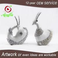 White with Silver Resin Sheep Sculptures in Pair for Home Decor Manufactures