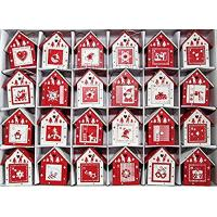 Quality Red and White Scandinavian Wooden Birdhouse Advent Calendar by Heaven Sends for sale
