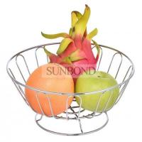 China Chrome metal Bowl shape fruit organizer fruit basket floor Stand on sale