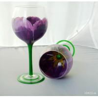 Drinking Glasses DX-11647 Antique Handpainted Wine Goblet With Decorative Purple Flower Manufactures
