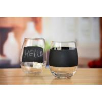 Drinking Glasses DX-71145 Handblown Crystal Stemless Tumbler Wine Glass With Black Board Printing