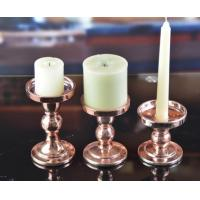 Buy cheap DX-07191Set Of 3 Antique Brass Classic Glass Candlestick Holders from wholesalers