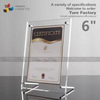 6''clear Screw Acrylic Certificate Frames Manufactures