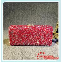 PU Leather Ladies Rectangular Evening Bags Clutches with Shining Rhinestone Manufactures