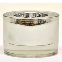 China 3.25 Inch Round Glass Tea Light Holder Silver on sale