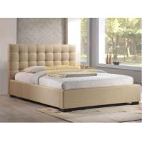 China Fabric Bed Beige Color Queen Size Buttons Headboard Fabric Platform Bed Frame BED-F-010 on sale