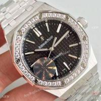 China Knockoff Audemars Piguet Royal Oak 3120 Stainless Steel Black Face Diamond Bezel Gift Watch on sale