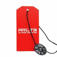 Red Die Cut Hang Tag With Plastic Lock Tag Paper Tags Manufactures